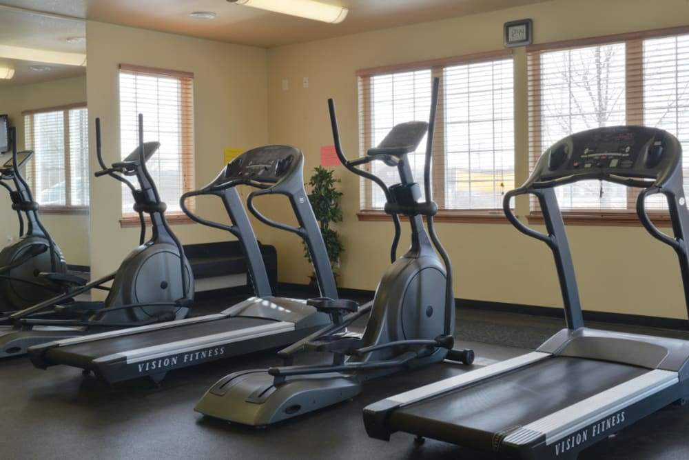 Break a sweat at the fitness facility at Parquelynn Village Apartments apartments