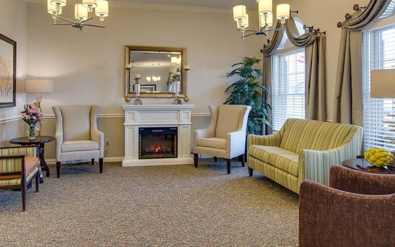 Fireside seating at Bradford Court in Nixa, Missouri