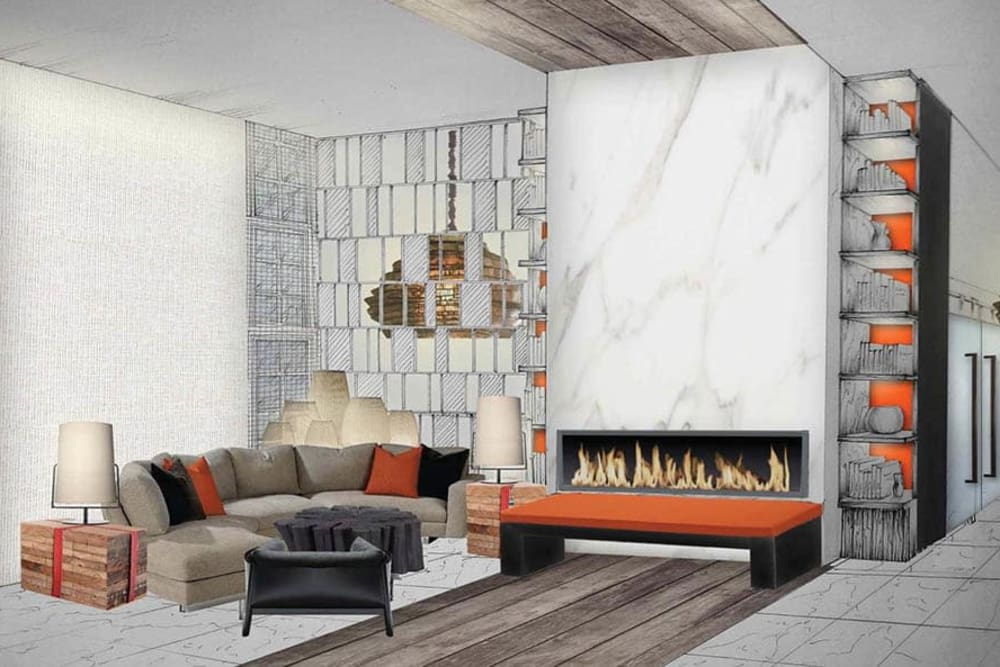 Living room and fireplace at 933 the U