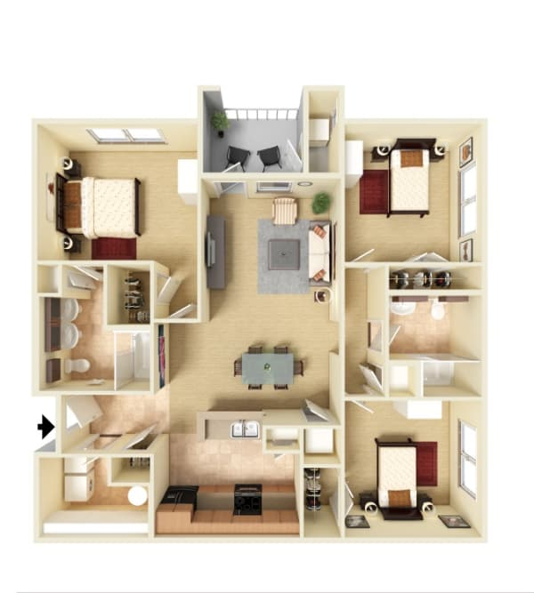 Three bedroom floor plan at Panther Riverside Parc Apartments in Atlanta, Georgia