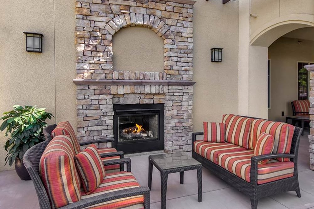 Patio fireplace at Merrill Gardens at Green Valley Ranch in Henderson, Nevada.