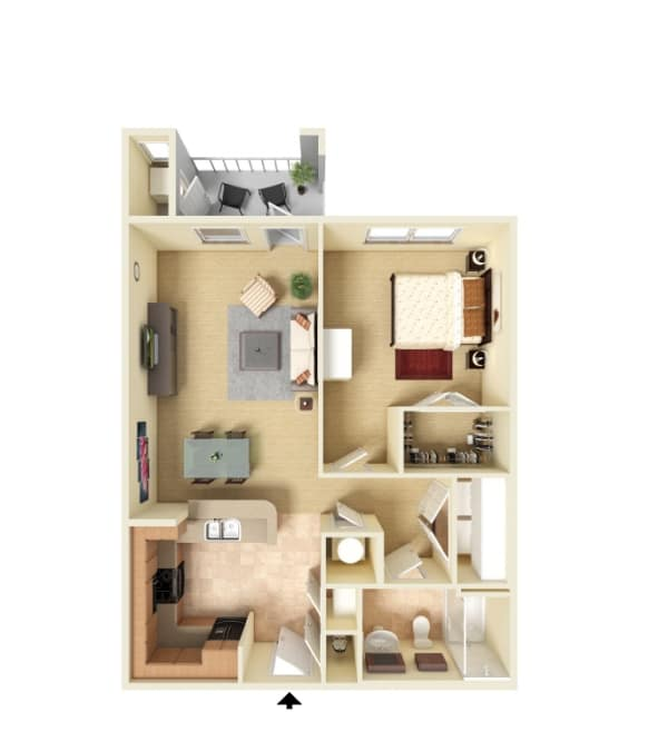 One bedroom floor plan at Panther Riverside Parc Apartments in Atlanta, Georgia