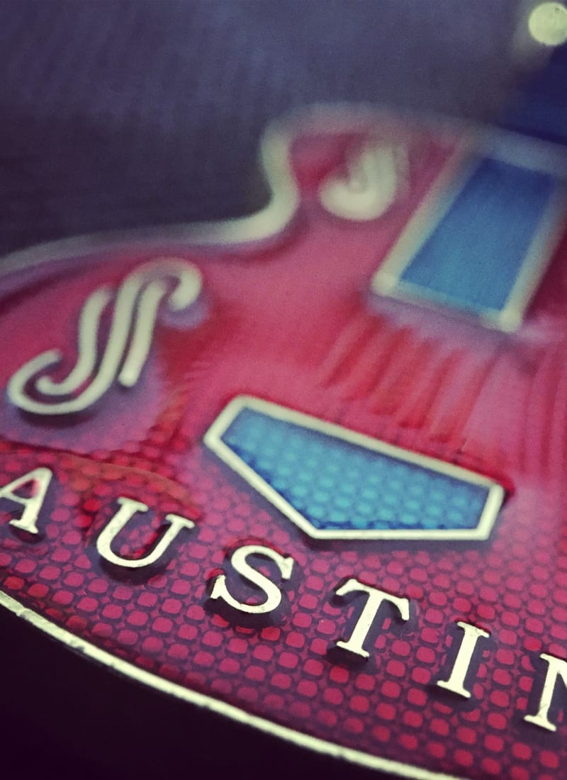 Blues electric guitar with Austin lettering near Marquis at Caprock Canyon in Austin, Texas