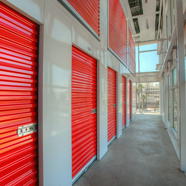 Red doors on climate-controlled units at StorQuest Self Storage in Chandler, Arizona