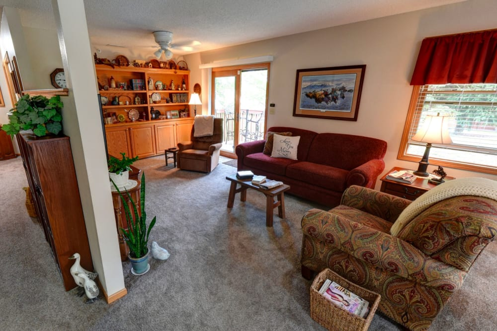 Spacious floor plans with a porch entrance at Garnett Place in Cedar Rapids, Iowa.