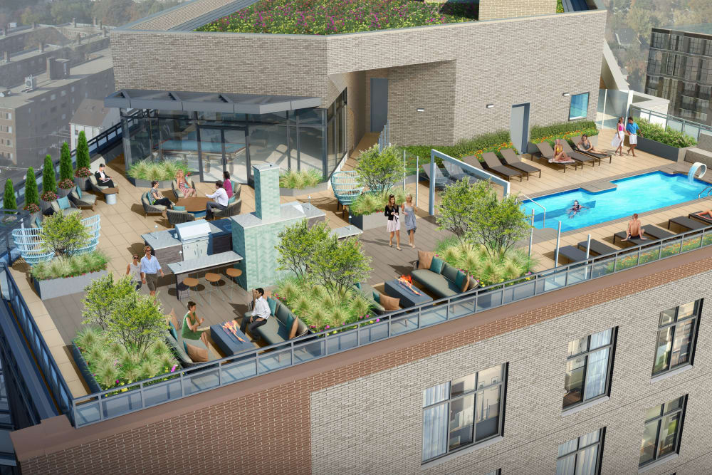 Rendering of rooftop deck and swimming pool at Gallery Bethesda II in Bethesda, MD