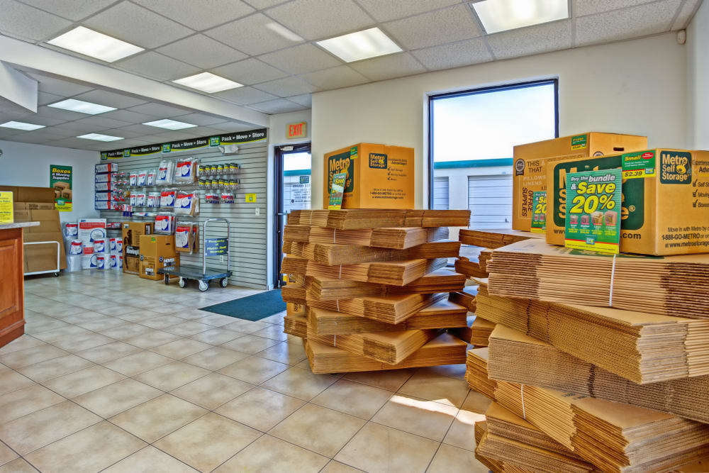 Leasing office interior view at Metro Self Storage in Lehigh Acres, Florida
