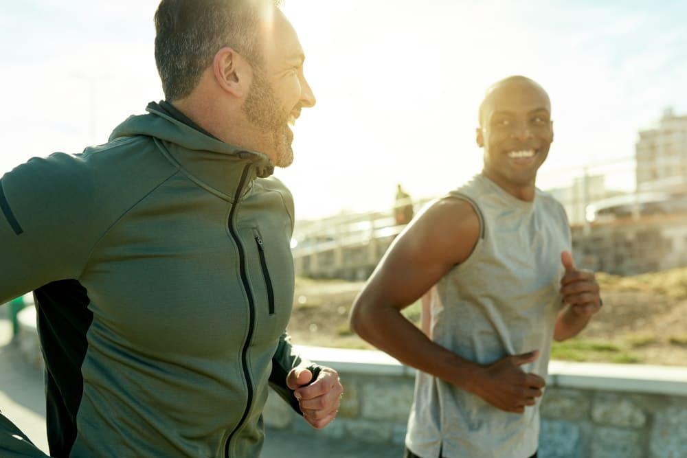 Men on a jog near Village Oaks in Chino Hills, California