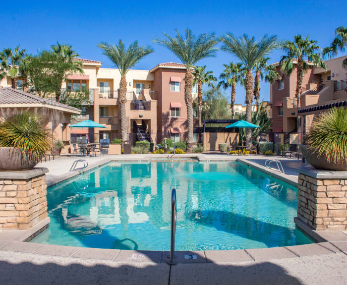 Beautiful swimming pool area at The Residences at Stadium Village in Surprise, Arizona