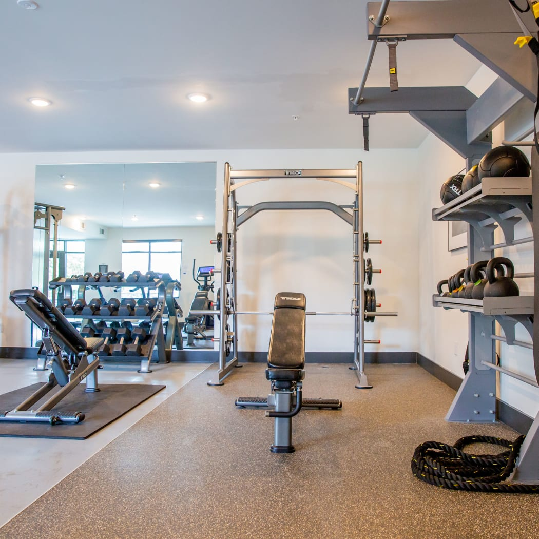 Onsite fitness center at Belcourt Park in Nashville, Tennessee