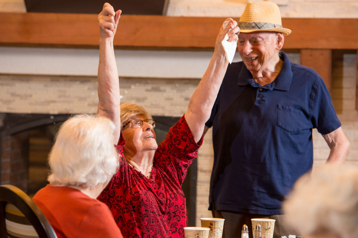 Residents spending time together at Raider Ranch in Lubbock, Texas