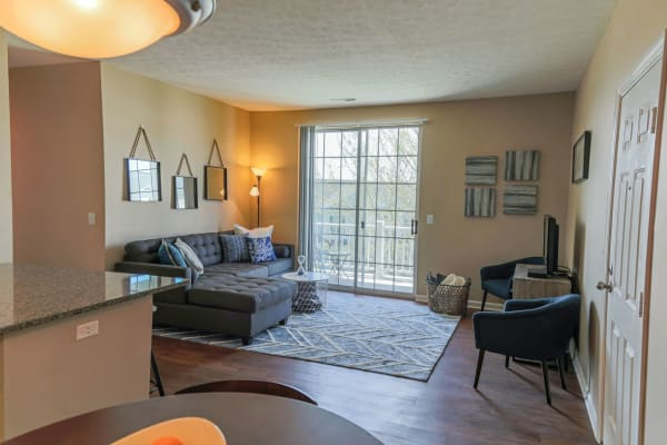 Living room at The Preserve at Beckett Ridge Apartments & Townhomes in West Chester, Ohio