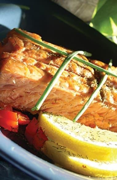 Beautiful salmon dish prepared at Burr Ridge Senior Living in Burr Ridge, IL