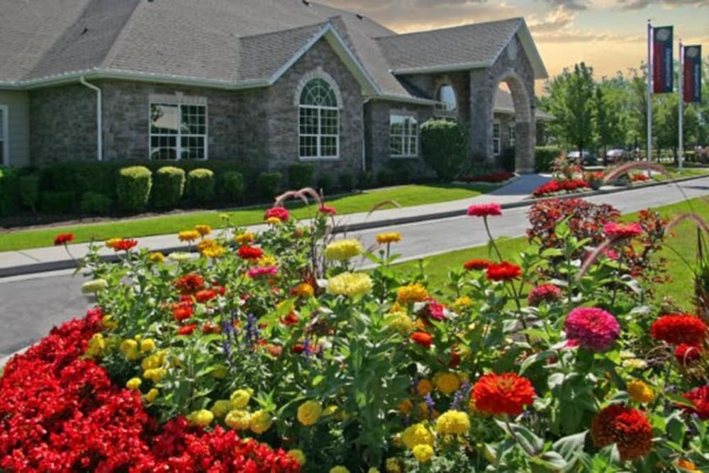 Flowers outside Fairstone at Riverview Apartments in Taylorsville, Utah