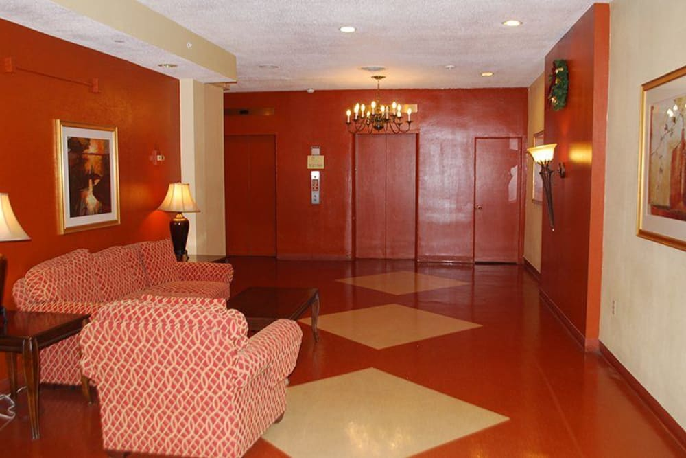 Lobby area at Park Place Senior Living in Sacramento, California