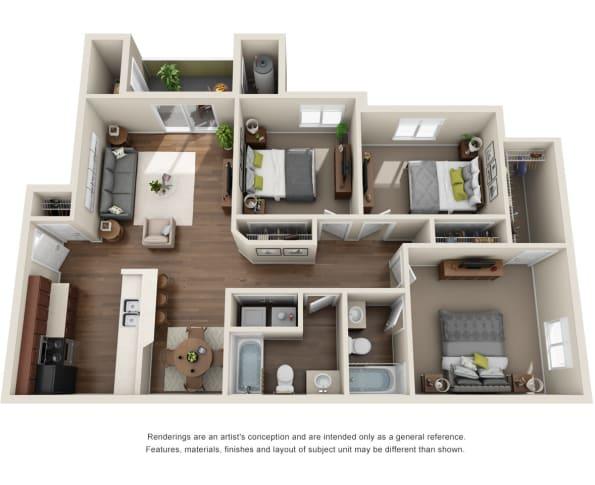3 Bedroom 2 Bath Floor Plan at Willow Run Village Apartments