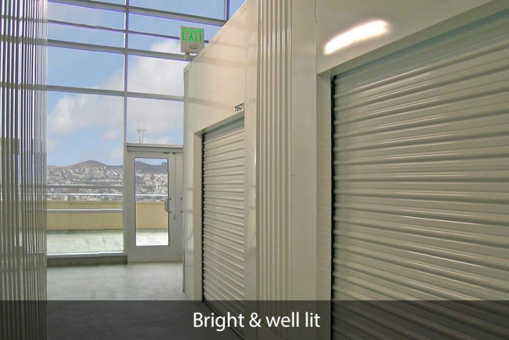 Naturally lit hallway of units at SOMA Self-Storage in San Francisco, California