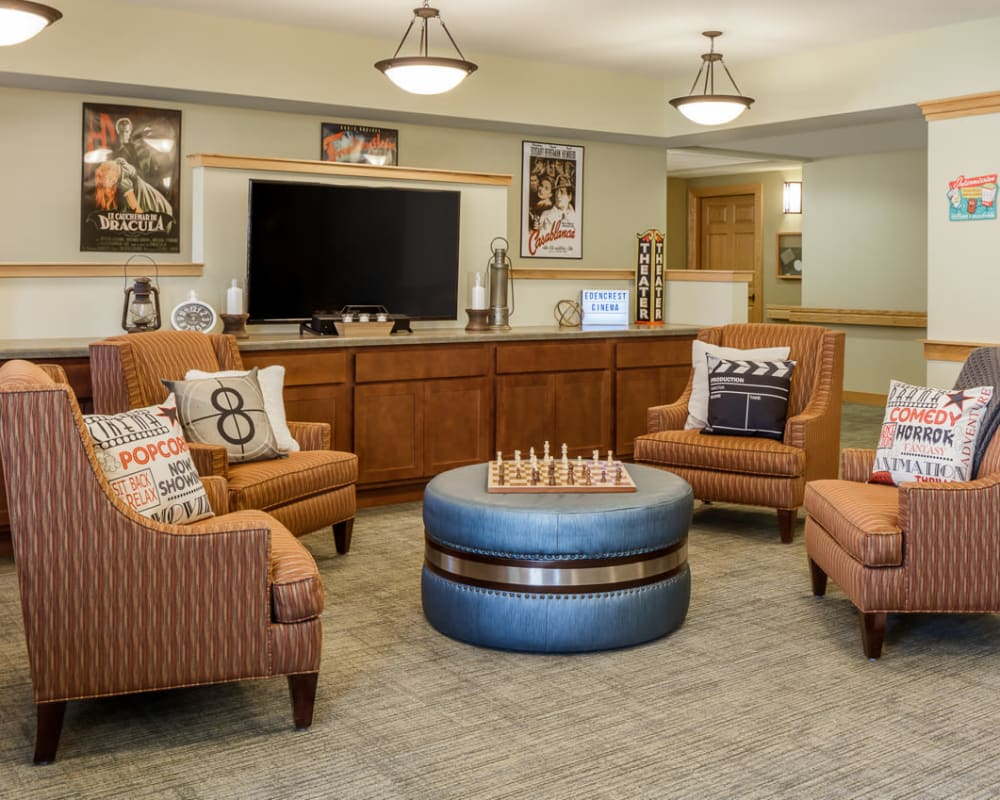 Great room to play games and watch movies at Edencrest at Green Meadows in Johnston, Iowa.