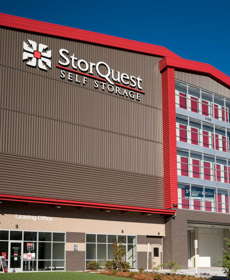 The exterior of the main entrance at StorQuest Self Storage in Bothell, Washington