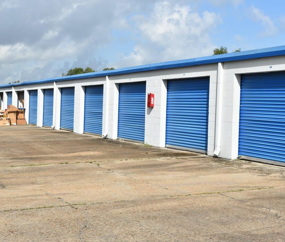 Row of storage units at AAA Alliance Self Storage in Houston, Texas
