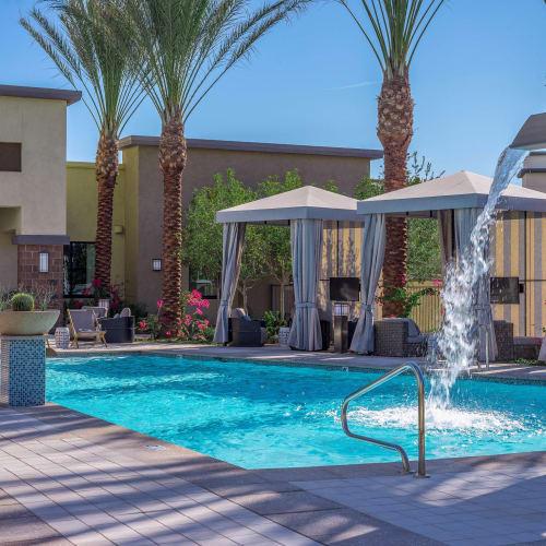 Fountain in the swimming pool at Cadia Crossing in Gilbert, Arizona