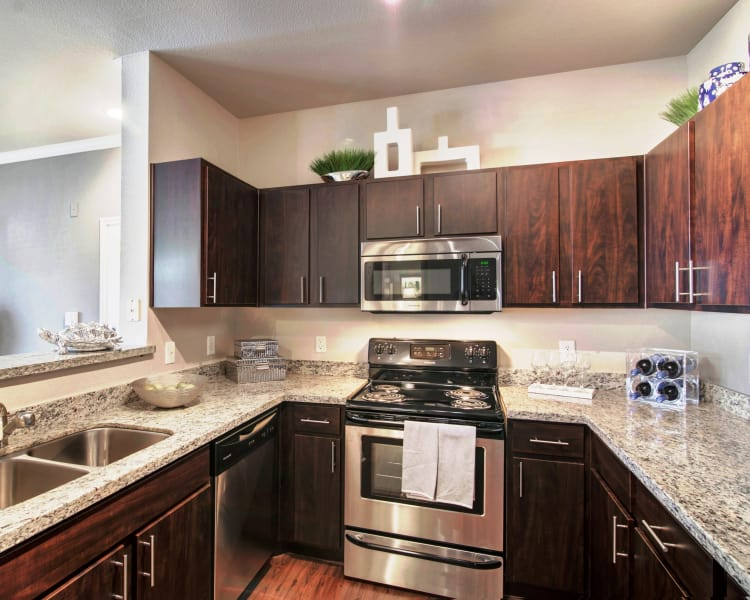 Fully equipped kitchen at Ridgecrest Apartment Homes