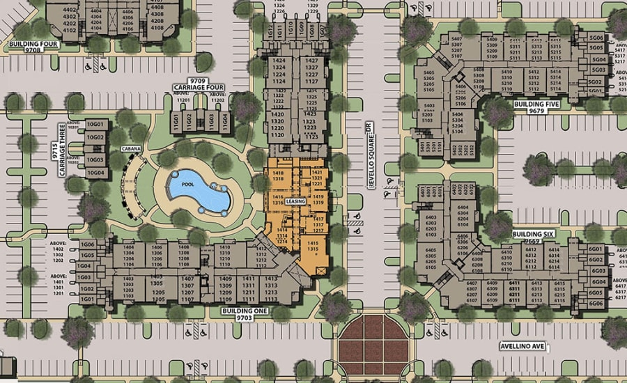 Site plan for The Courtney at Universal Boulevard in Orlando, Florida