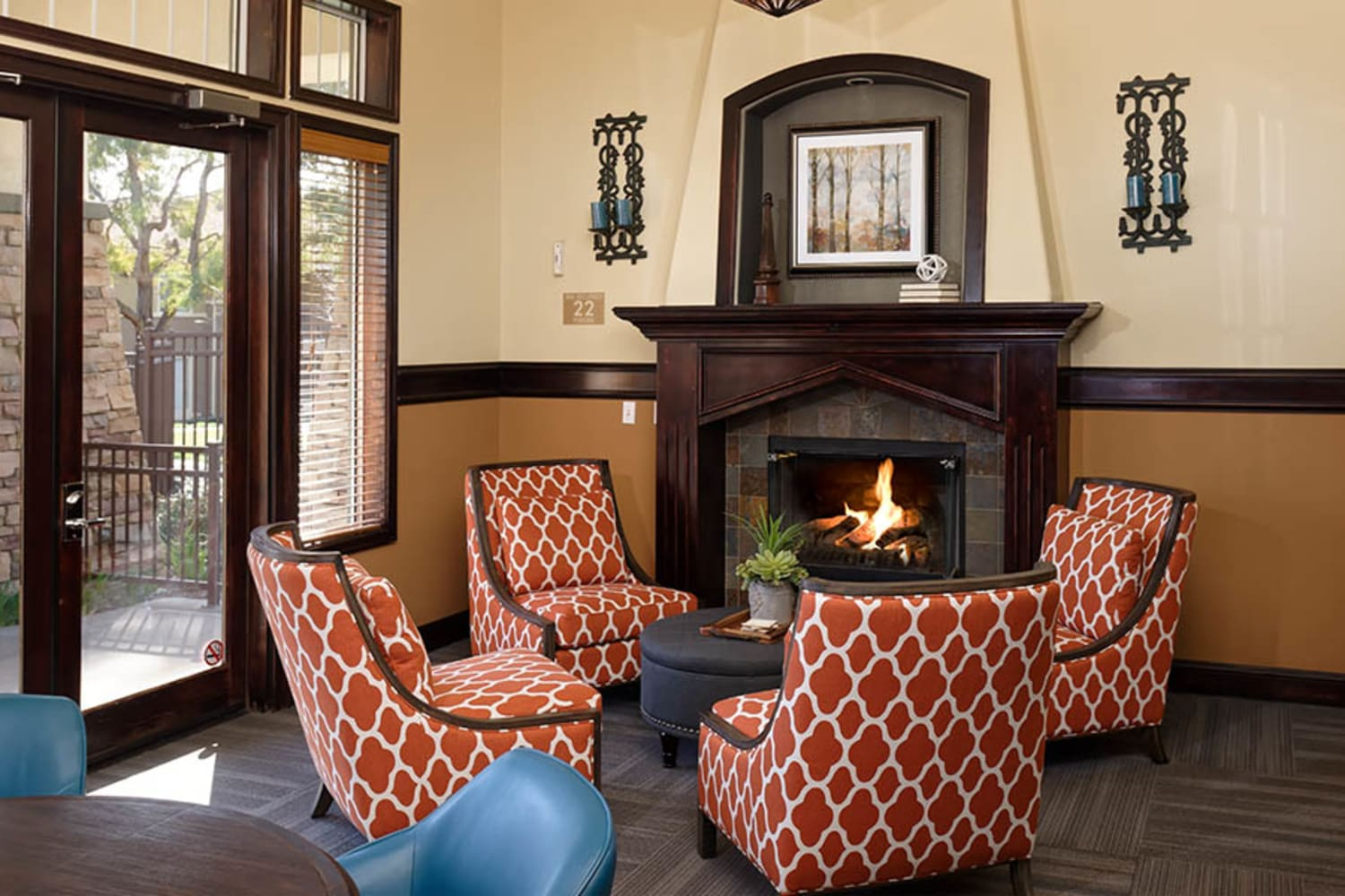 Camino Real offers a clubhouse complete with a fireplace in Rancho Cucamonga, California