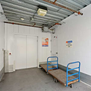 Freight elevator and carts at A-1 Self Storage in Lakeside, California