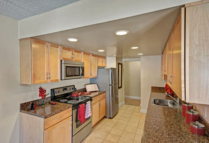 Kitchen with stainless-steel appliances at Frazer Crossing in Malvern, Pennsylvania