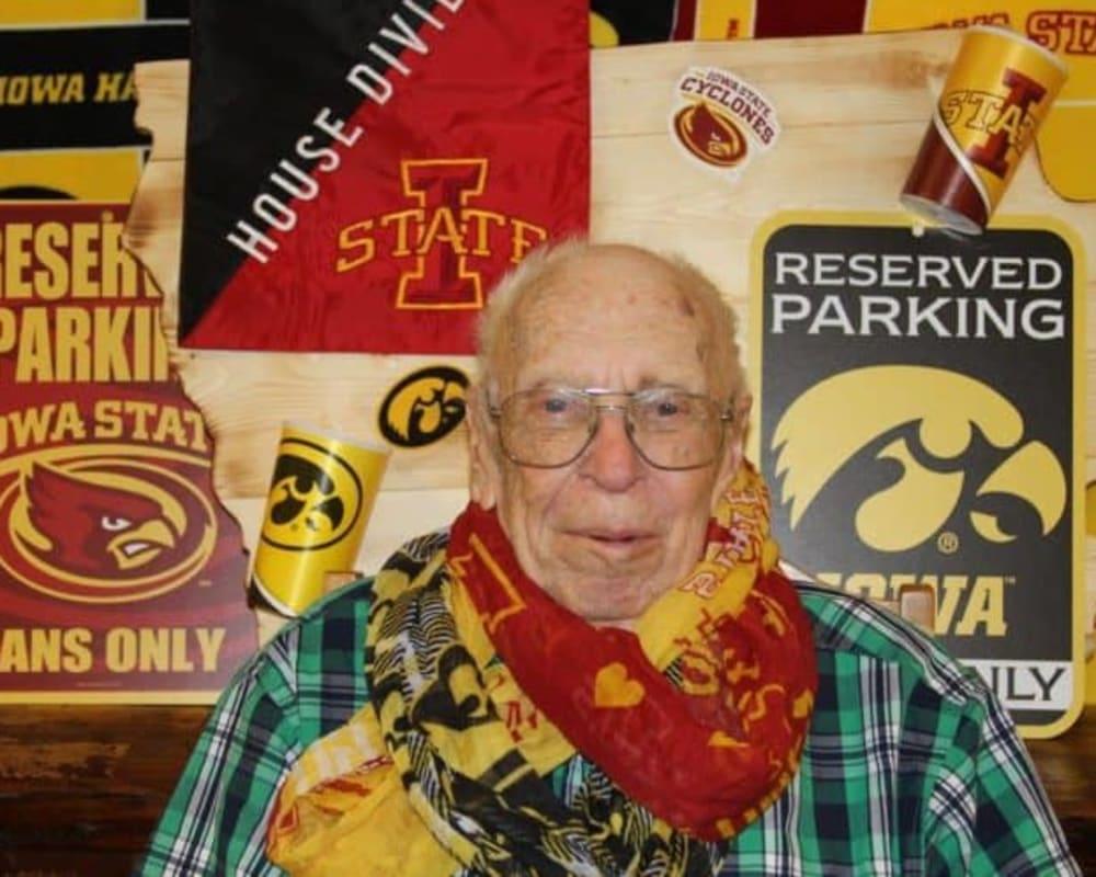 Resident shows Iowa school spirit at Holstein Senior Living in Holstein, Iowa.