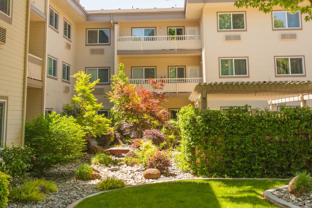Lovely garden outside of River Commons Senior Living in Redding, California