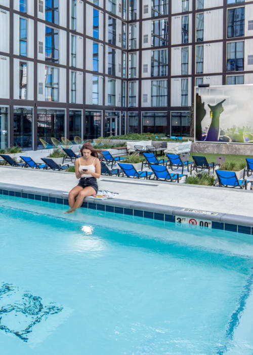 Sparkling swimming pool at RISE at Riverfront Crossings in Iowa City, Iowa