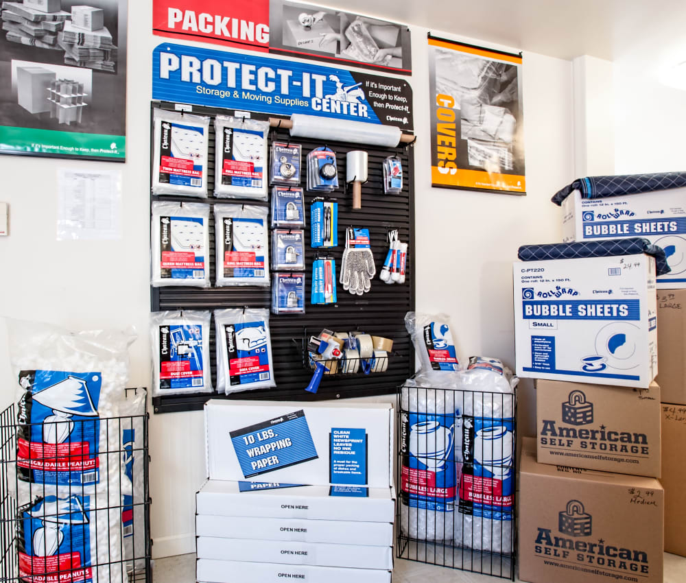 Supplies for sale at American Self Storage in Lakehurst, New Jersey