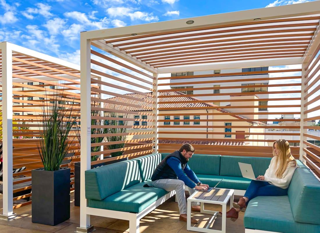 Resort-style swimming pool at Hillsborough Plaza Apartments in San Mateo, California