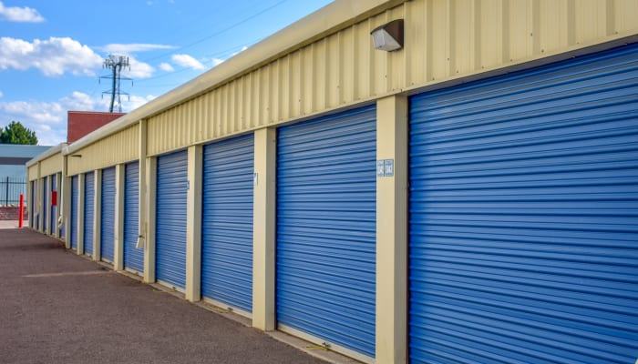 Blue storage unit doors at STOR-N-LOCK Self Storage in Aurora, Colorado