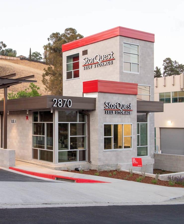 The driveway entrance at StorQuest Self Storage in Walnut Creek, California