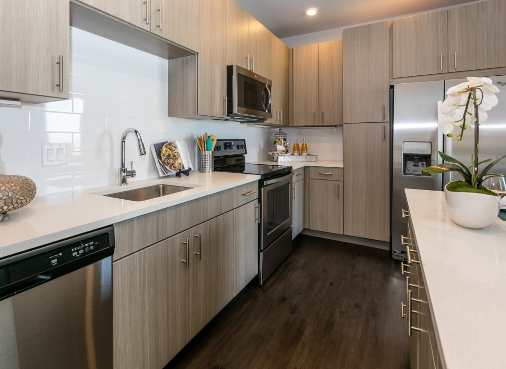 Fully Equipped Model Kitchen at Strata Apartments in Denver, Colorado