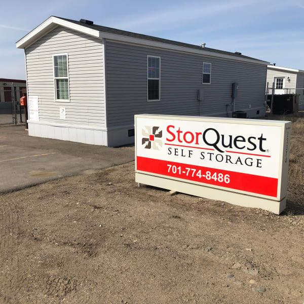 Branding and signage in front of StorQuest Self Storage in Williston, North Dakota