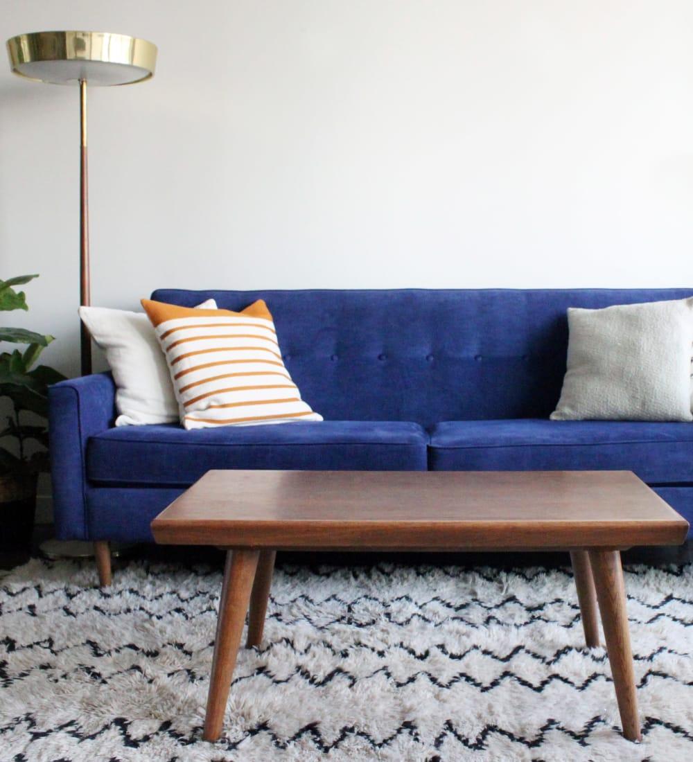 Cozy living room in a model home at Sofi Ventura in Ventura, California