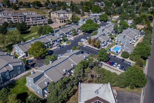 aerial view of the property and surrounding area at Bluesky Landing Apartments in Lakewood