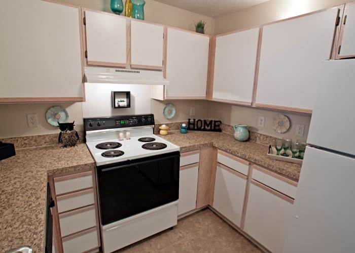 Fieldstone Apartments offers a well-equipped kitchen in Mebane, North Carolina