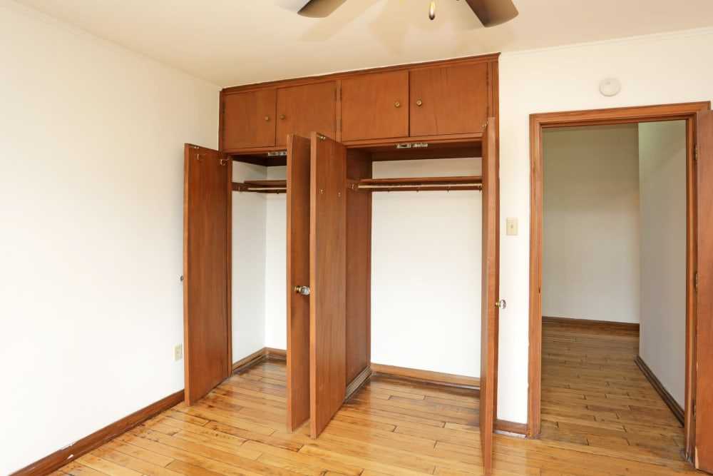 Closets in master bedroom at Windsor Terrace in Des Moines, Iowa