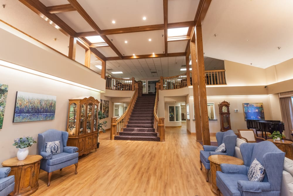 Spacious common area at River Commons Senior Living in Redding, California