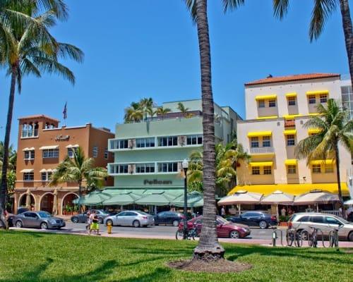 View of beachfront buildings near Aliro Apartments in North Miami, Florida
