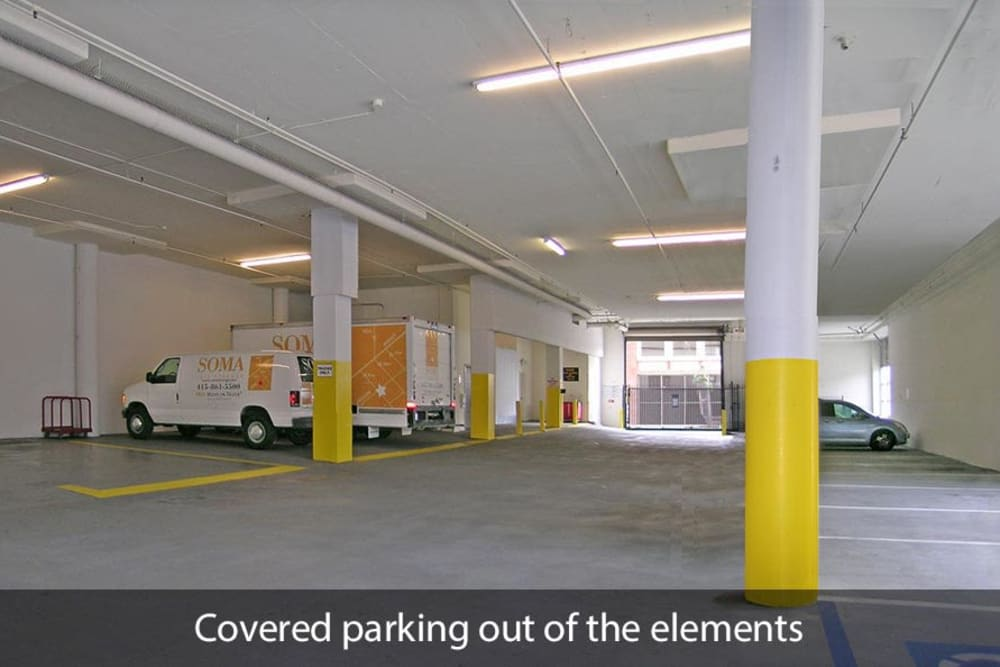 Covered parking at SOMA Self-Storage in San Francisco, California