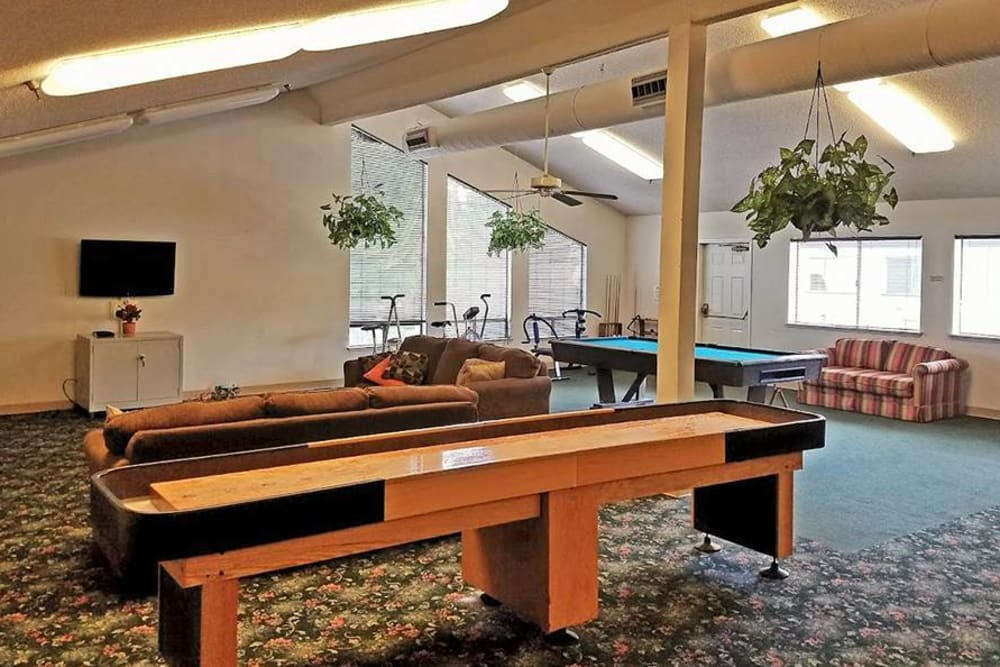 Pool table for residents at Leisure Manor Senior Living in Sacramento, California