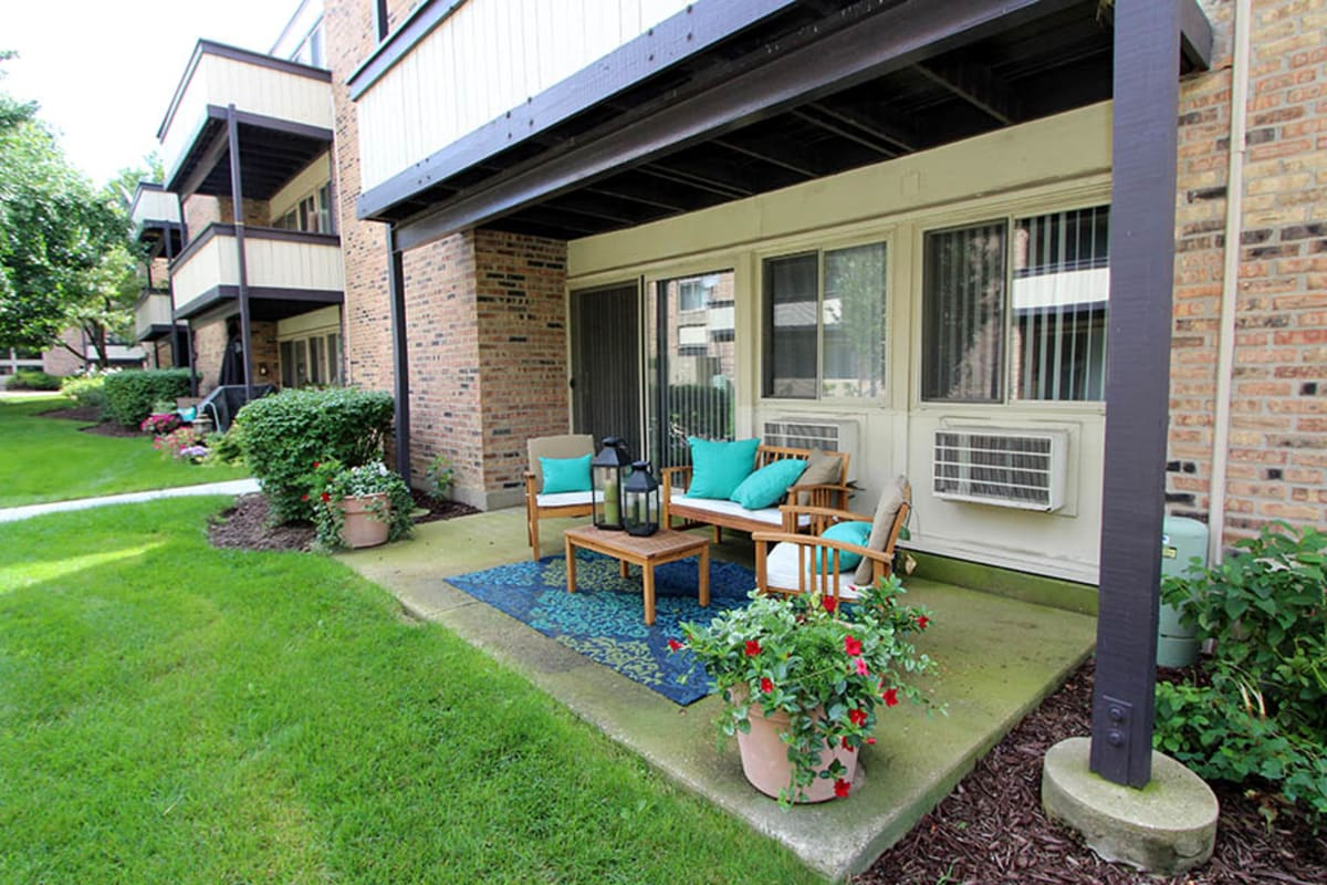 Floor plans with a private patio or balcony at Fieldpointe of Schaumburg in Schaumburg, Illinois.