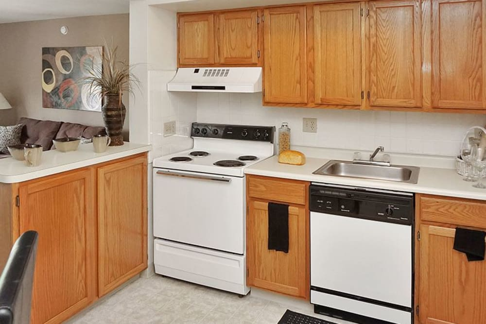Lots of cupboard space and kitchen appliances at Four Seasons Apartments in Erlanger, Kentucky