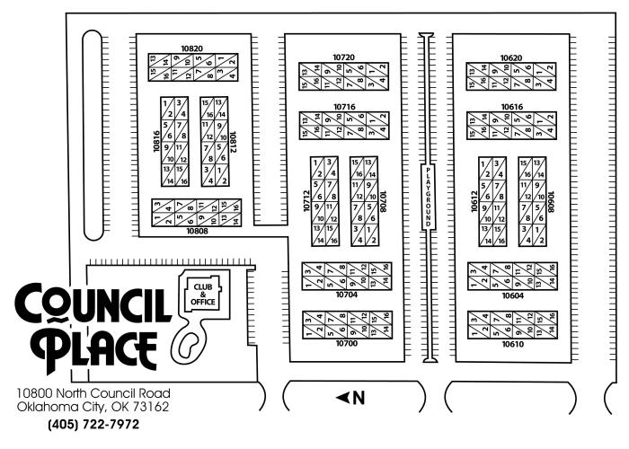 Site map for Council Place Apartments in Oklahoma City, Oklahoma